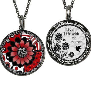 Reversible Red Flower Small Circle Necklace